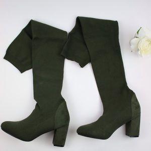 Sexy Dark Green Boots Look Like Socks Size 8.5